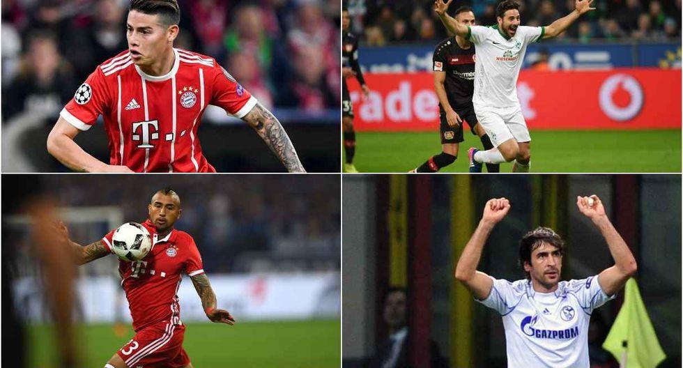 Claudio Pizarro, Chicharito Hernández, Arturo Vidal en el once latino de la década en Bundesliga. (Foto: AFP)