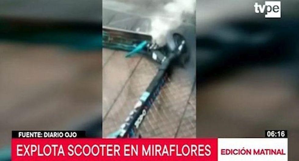 Scooter eléctrico sufrió falla eléctrica debido a sobrecalentamiento de batería. (Captura: TV Perú Noticias)