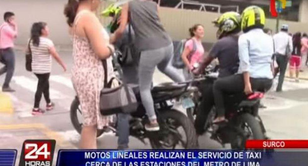 Desde hace algunos años en los alrededores de las estaciones del Metro de Lima, como Los Cabitos, unos sujetos ofrecen el servicio de taxi en motocicleta. (24 Horas)