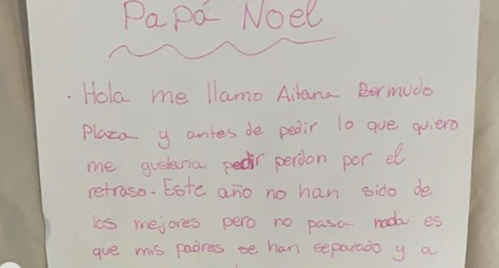 ''Hola, me llamo Aitana Bermudo Plaza y antes de pedir lo que me gustaría, quisiera pedir perdón por el retraso'', así empieza la carta escrita por la niña de 10 años.