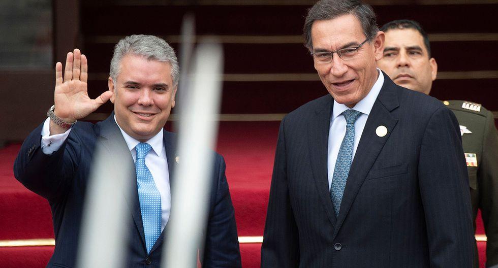 Iván Duque y Martín Vizcarra, presidentes de Colombia y Perú. Ambos participan en un Gabinete Binacional en la ciudad de Pucallpa. (Foto: AFP/archivo)