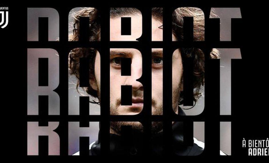Juventus hizo oficial el fichaje de Adrien Rabiot, que llega libre procedente del PSG
