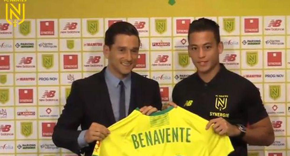 Benavente se sumó a los entrenamientos del Nantes e integraría la nómina deChristian Gourcuff para el próximo duelo del conjunto francés en la Ligue 1. (Foto: Twitter @FCNantes)