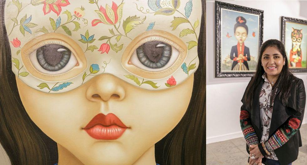 Flor Padilla junto a sus obras. (Foto: Galería Índigo)