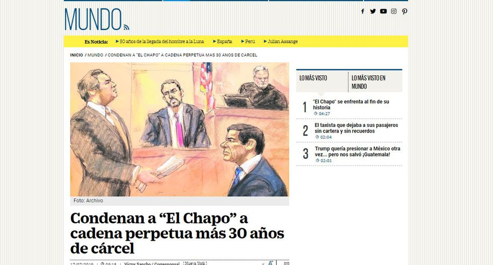 El Universal de México informó también la condena de un juez de Nueva York contra uno de los narcos más reconocidos del mundo. (Foto: El Universal - México)
