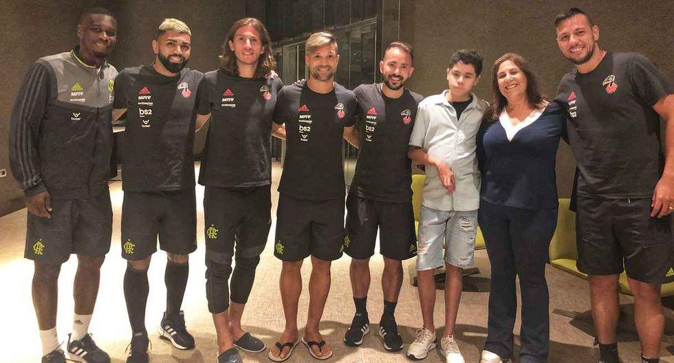 La visita que recibieron los jugadores del Flamengo antes de medirse a River Plate en la final de la Copa Libertadores 2019. (Foto: @Flamengo)