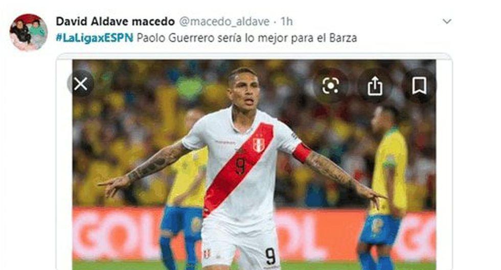 Hinchas peruanos piden a Paolo Guerrero en reemplazo de Luis Suárez en el Barcelona. (Foto/Captura: Twitter)