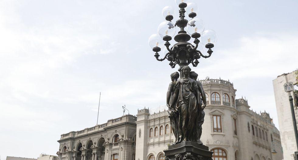 Municipalidad de Lima entregó la farola de Las Tres Gracias completamente restaurada, que se ubica frente a la plaza San Martín, en el Centro Histórico. (Foto: Difusión)