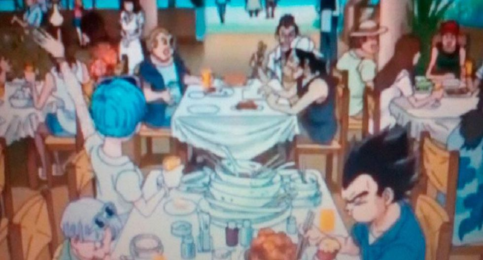 Vegeta y Trunks limpiando los platos. (Foto: Facebook)