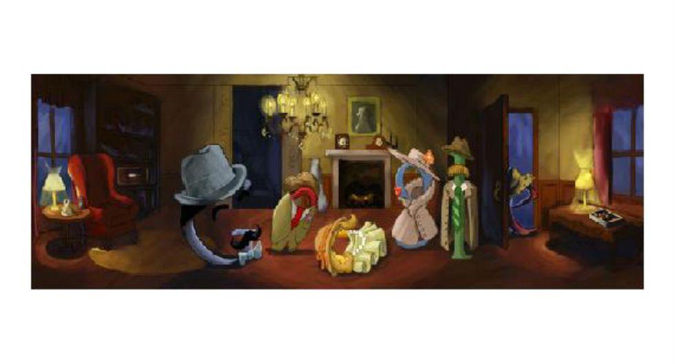 Agatha Christie | Google recordó los 120 años del nacimiento de la inglesa, Agatha Christie, el 15 de setiembre de 2010. El 'doodle' representó una escena de crimen, clásica imagen en la obra de Christie. (Google)