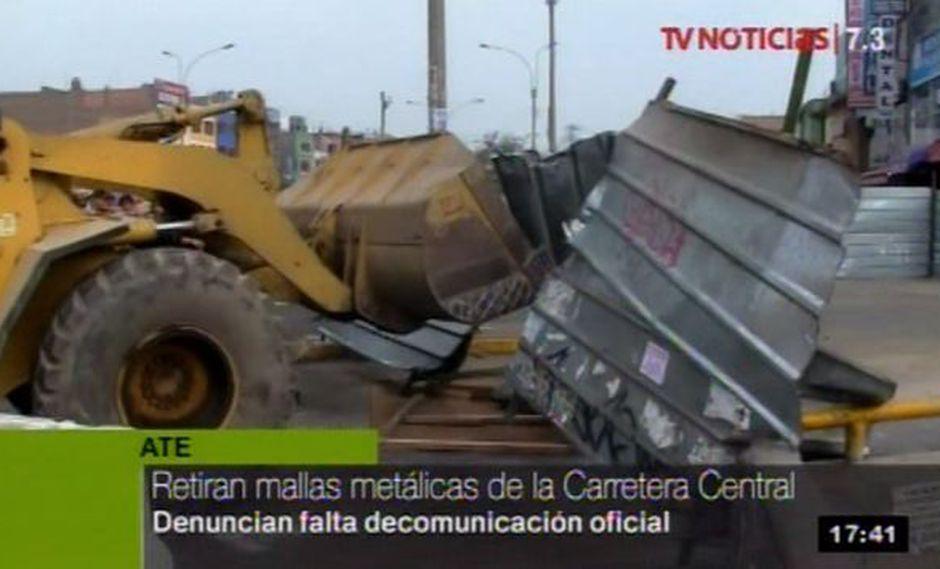 Ate: retiran malla metálica y muros de concreto que cerraban parte de la Carretera Central