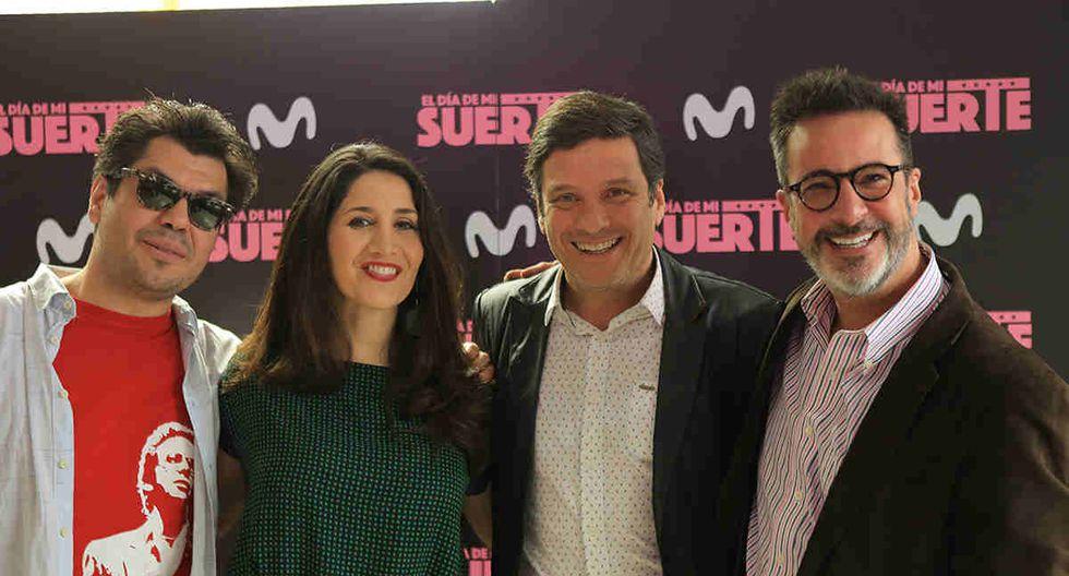 Pietro Sibille, Urpi Gibbons, Lucho Cáceres, Carlos Carlin, parte del elenco de 'El día de mi suerte'.