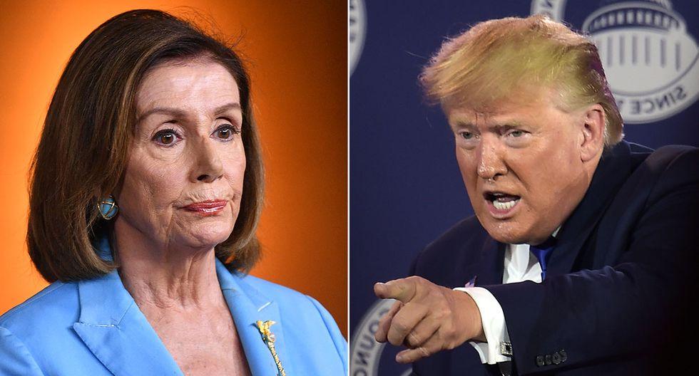 """Donald Trump dijo  """"política de tercera clase""""  a Nancy Pelosi en la casa Blanca. (Foto: AFP/Producción)"""