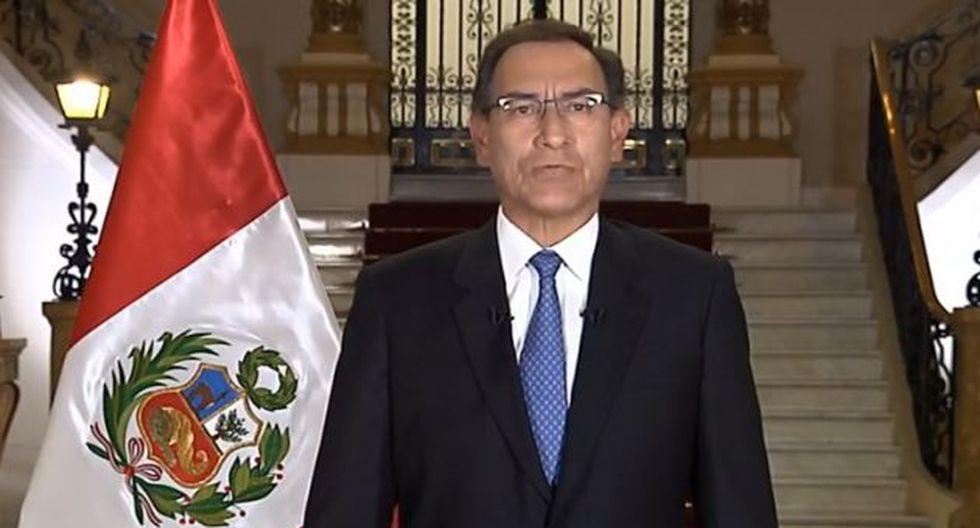 Martin Vizcarra dando el mensaje a la nación el 16 de septiembre del 2018 donde anunció la Cuestión de confianza.