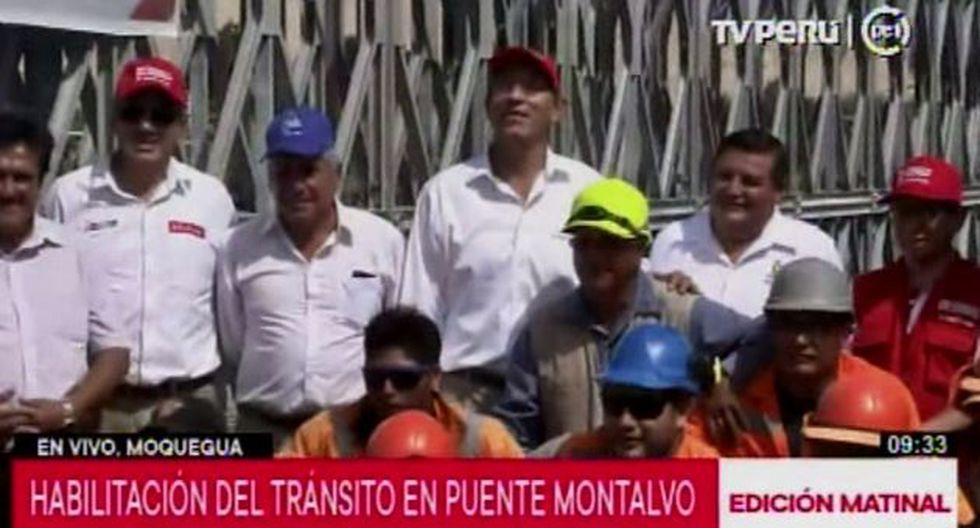 El mandatario Vizcarra saludó el trabajo conjunto con las autoridades de la región para el restablecimiento del puente tipo Bailey. (Video: Canal N)