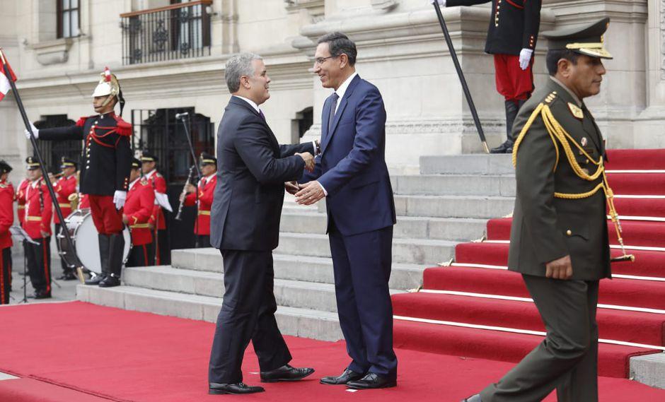 Los presidentes Martín Vizcarra e Iván Duque se reunieron en Palacio de Gobierno este lunes. (Foto: Piko Tamashiro / GEC)
