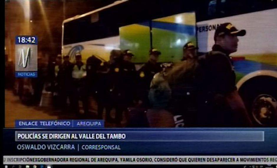 Arequipa: cerca de 400 policías se dirigen al Valle del Tambo para evitar conflicto social