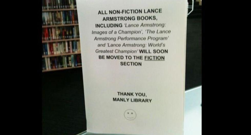 """""""Todos los libros de Lance Armstrong (...) serán pronto desplazados a la sección de obras de ficción"""", dice el mensaje"""