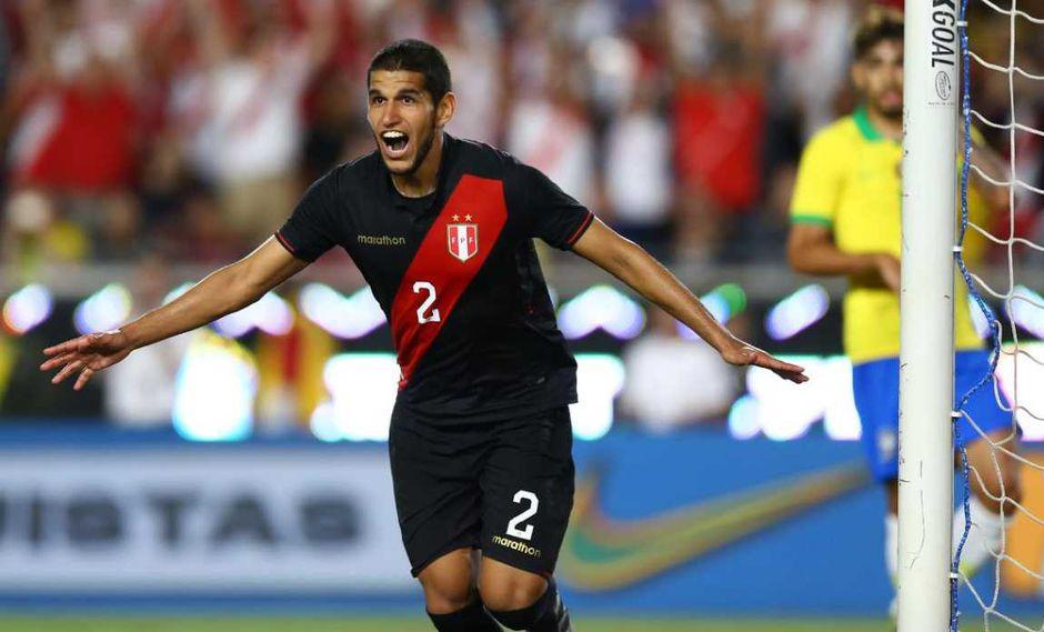 Luis Abram anotó su primer gol con la selección peruana ante Brasil. (Foto: Fernando Sangama / GEC)