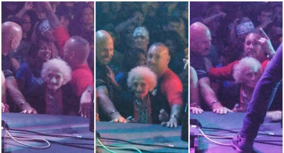 Se viralizó en Facebook el baile de una anciana durante un concierto de música metal. (Foto: Captura)