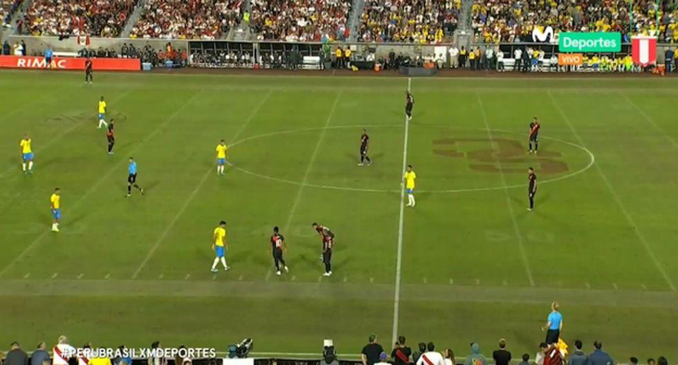 El error de Ramón Quiroga en plena transmisión del Perú vs. Brasil. (Captura: Movistar Deportes)