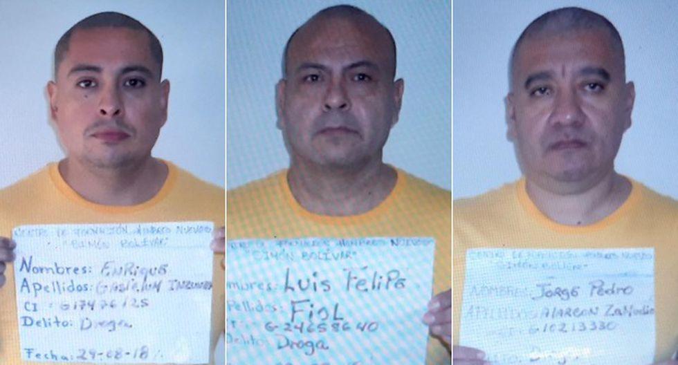 Luis Fiol, Enrique Gastelum y Jorge Alarcón son los tres narcotraficantes que fugaron de La Planta, una vieja cárcel de Caracas. (Foto: Twitter)