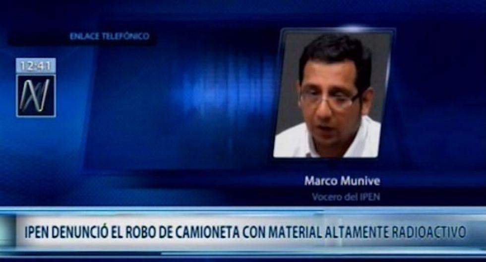 El Instituto Peruano de Energía Nuclear se encuentra en alerta tras el robo una camioneta que presta servicios de calidad de soldaduras en Villa El Salvador.