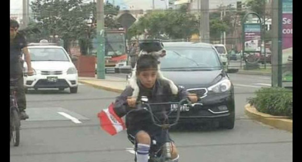 El niño y su mascota a bordo de una bicicleta y con una banderita peruana.