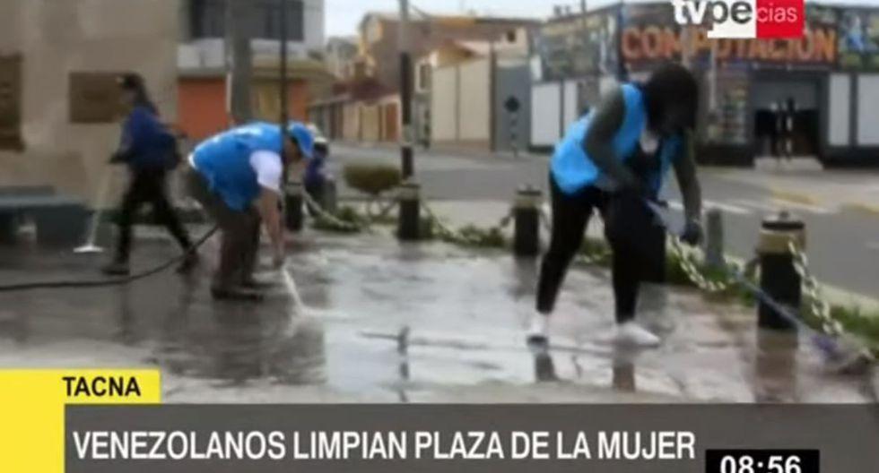 En la jornada de limpieza participaron 60 venezolanos. (TV Perú)