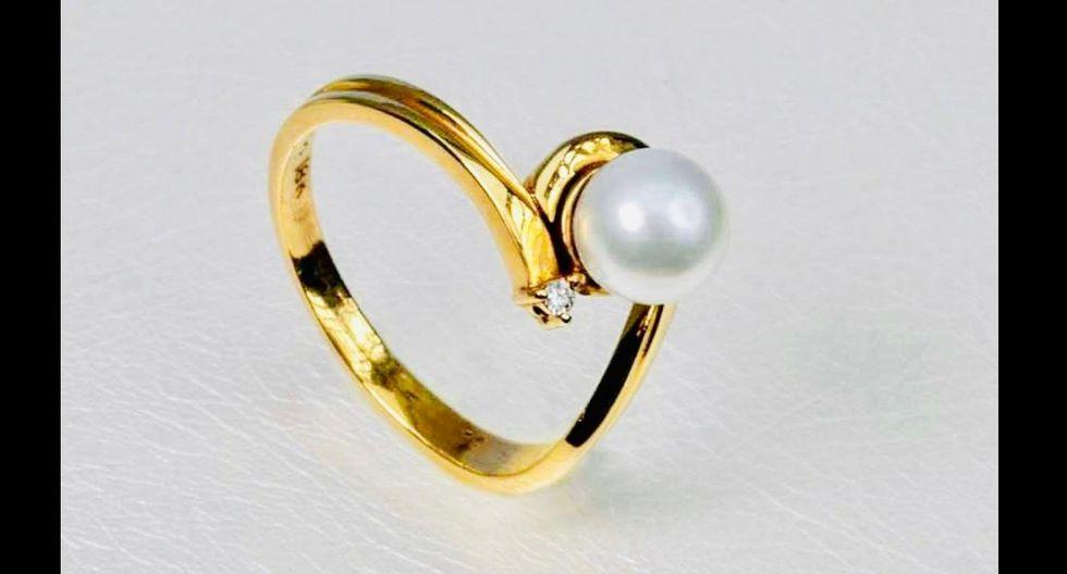 Hermoso anillo de 18 quilates con perla cultivada y brillante natural de Calla Joyas. (Foto: FacebookCalla joyas by mircalla l. cerna)