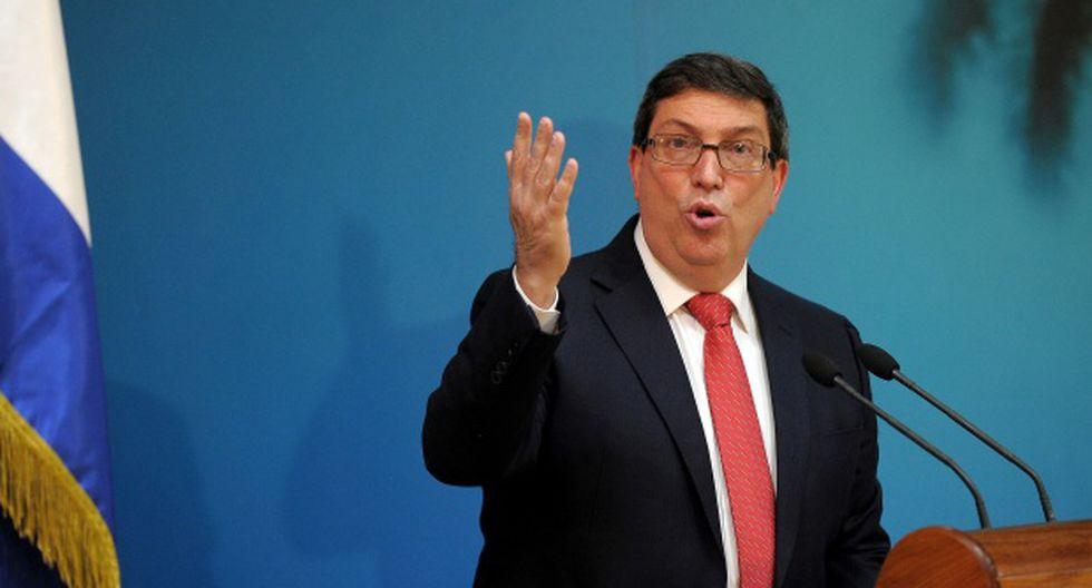 El ministro de Relaciones Exteriores de Cuba, Bruno Rodríguez, habló durante una conferencia de prensa en el Ministerio de Relaciones Exteriores en La Habana. (Foto: AFP)