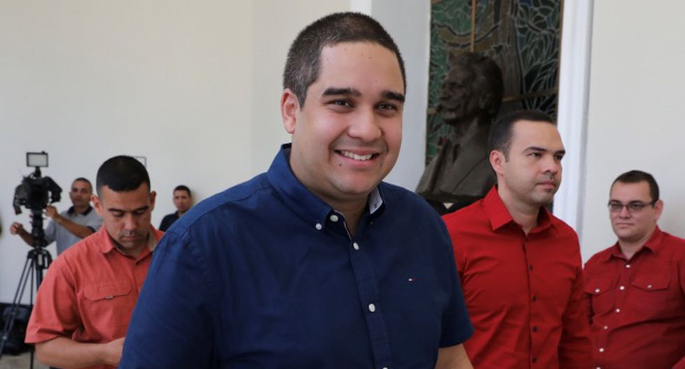 """""""He tenido el honor de recibir una pretendida sanción por el Departamento del Estado y el Departamento del Tesoro"""", dijo Nicolás Maduro Guerra durante un acto de desagravio de la juventud del gobernante Psuv. (Foto: EFE)"""