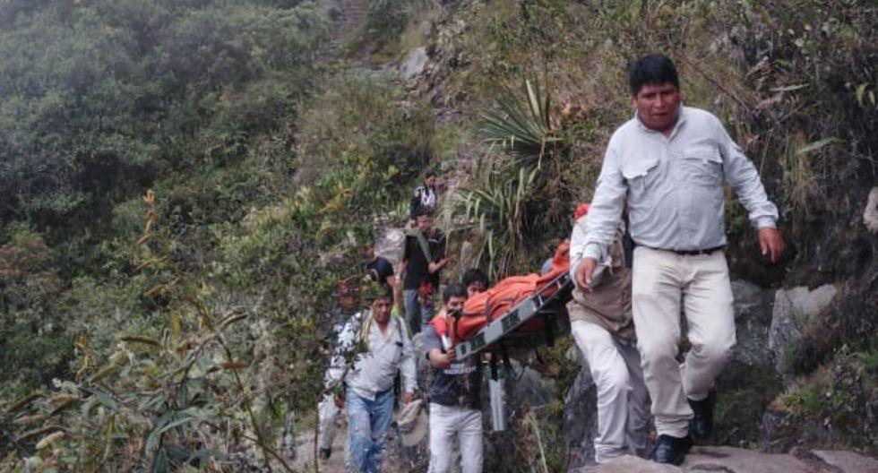Los trabajadores del Ministerio de Cultura y turistas auxiliaron a Christopher Thomas May (38). (Foto: Andina)