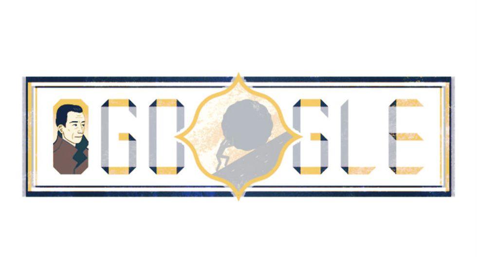Albert Camus | El diseño del 'doodle' sobre Camus resalta uno de los símbolos más importantes de sus creaciones: el hombre que arrastra una enorme piedra cuesta arriba, en referencia al mito de Sísifo. (Google)
