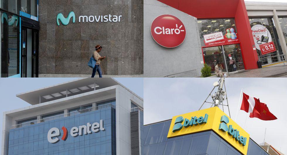 Bitel fue sancionado con S/ 547,390, Entel con S/ 439,890, Claro con S/ 360,770 y Movistar con S/ 308,381. (Foto composición: AFP / GEC)