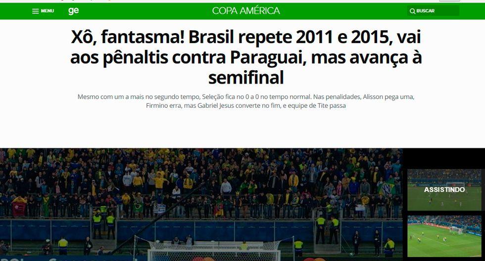 Así informó la prensa internacional la clasificación de Brasil y la tristeza de Paraguay. (Captura: Globo Esporte)