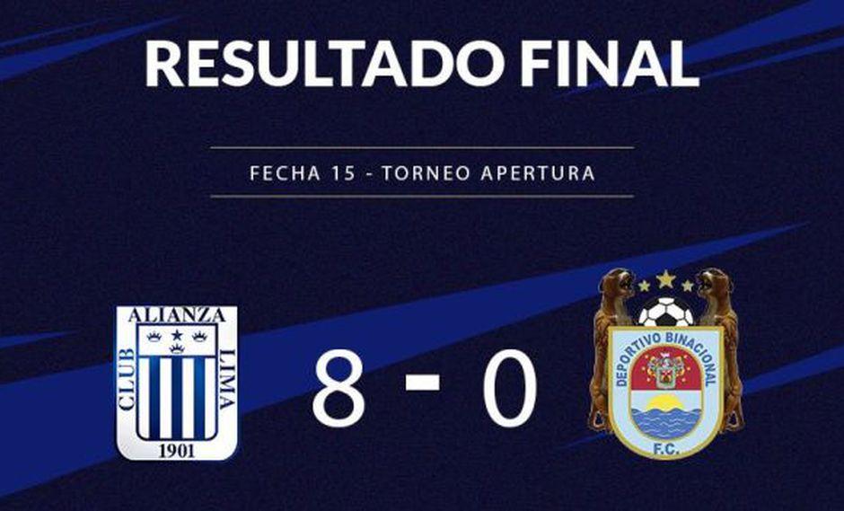 Alianza Lima goleó 8-0 a Binacional en Torneo de Reservas y subió al segundo lugar