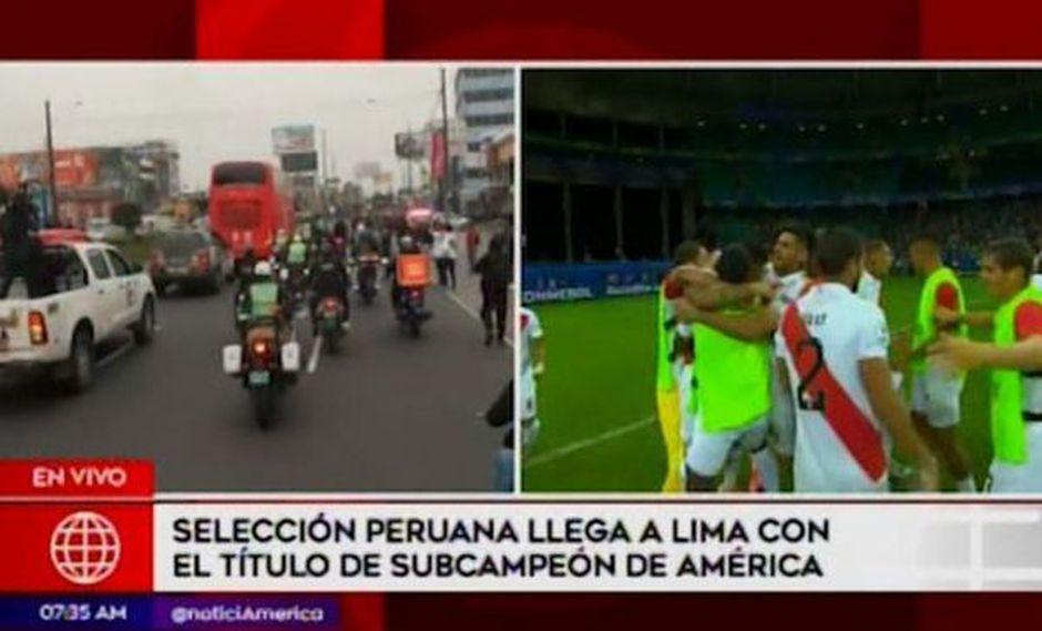 Hinchas acompañaron en caravana a la selección peruana en su recorrido hacia la Videna   VIDEO