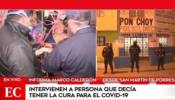 La mujer opuso resistencia y no permitió el ingreso de las autoridades al policlínico. (América Noticias)