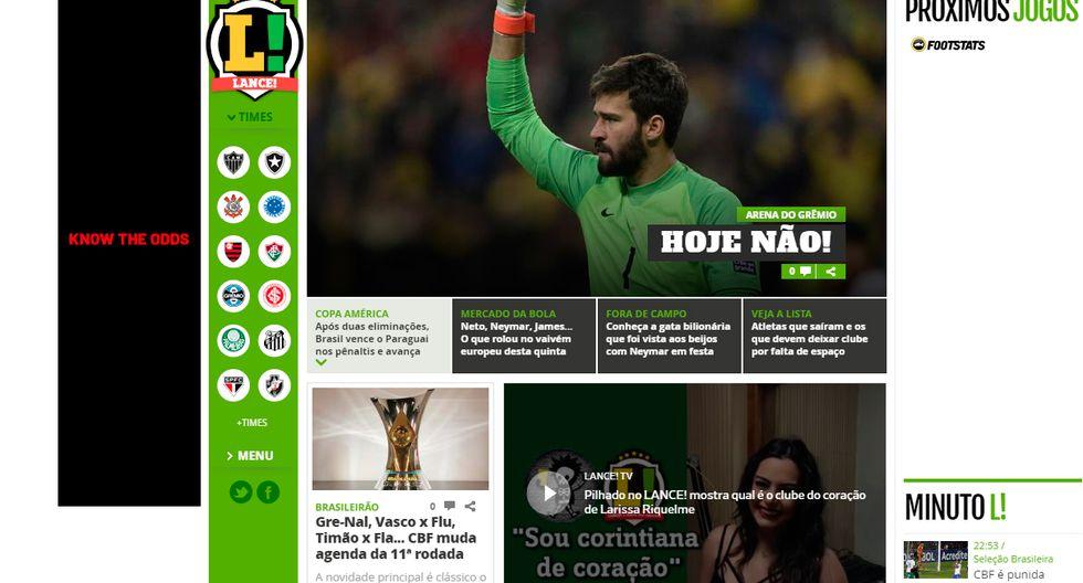 Así informó la prensa internacional la clasificación de Brasil y la tristeza de Paraguay. (Captura: Lance de Brasil)