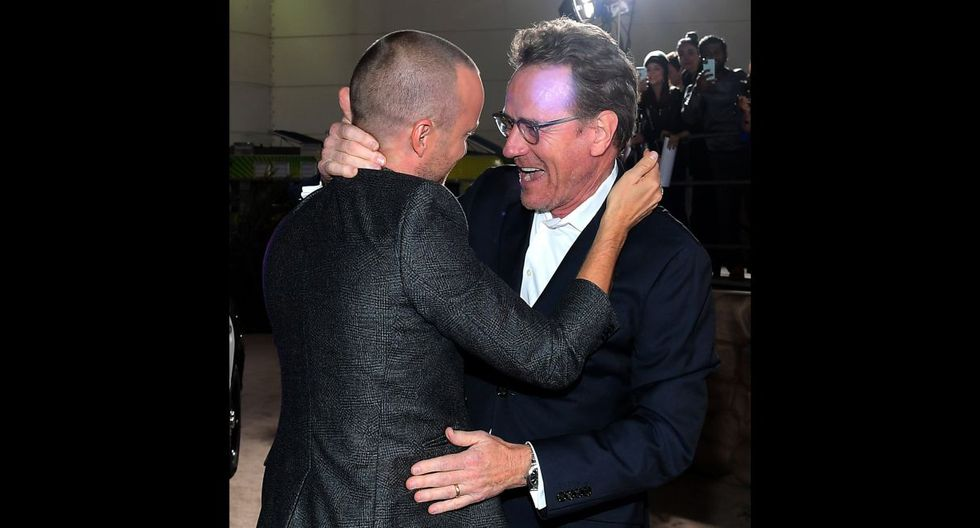 """LOS ANGELES, CALIFORNIA - OCTOBER 07: Aaron Paul (L) and Bryan Cranston attend the World Premiere of """"El Camino: A Breaking Bad Movie"""" at the Regency Village on October 07, 2019 in Los Angeles, California.   Charley Gallay/Getty Images for Netflix/AFP"""