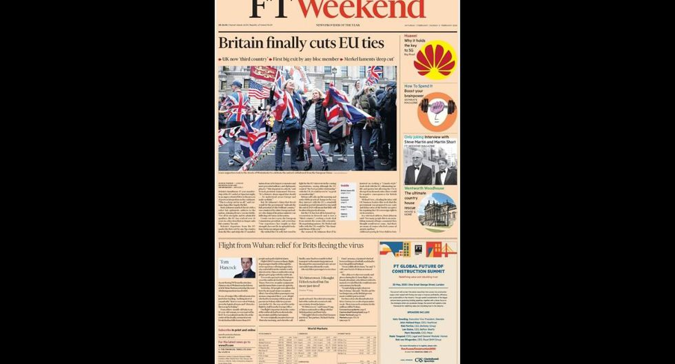 """El periódico económico Finacial Times resalta """" Gran Bretaña finalmente corta los lazos con la UE"""". (Financial Times)"""