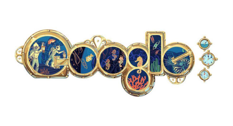 Julio Verne | Google también reconoció los aciertos que tuvo Julio Verne con sus obras de ciencia ficción y aventuras. El referido 'doodle' apareció un 8 de febrero de 2011, con motivo de sus 183 años de nacimiento. (Google)