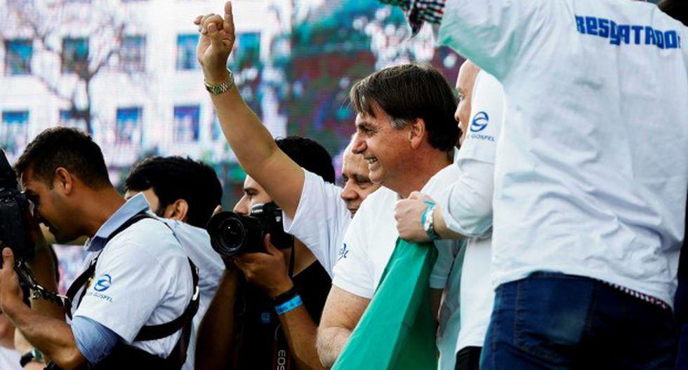 """El presidente de Brasil, Jair Bolsonaro, durante la 27ª edición de la """"Marcha para Jesús"""" este jueves, en São Paulo (Brasil). (Foto: EFE)"""