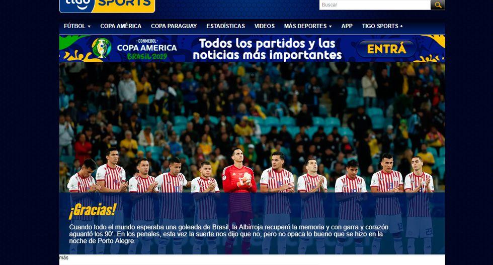 Así informó la prensa internacional la clasificación de Brasil y la tristeza de Paraguay. (Captura: Tigo Sports de Paraguay)