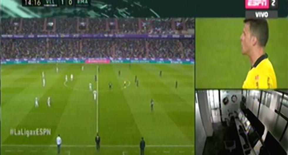 El árbitro anuló un gol de Valladolir por posición adelantada en juego ante Real Madrid. (Captura: ESPN)