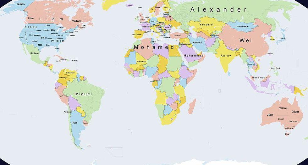 Mapa Muestra Los Nombres Masculinos Mas Comunes Del Mundo