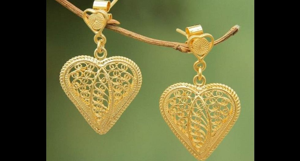Finos aretes de plata 950 bañados en oro de 21 quilates de Giuliana Valz-Gen. (Facebook: joyas giuliana valz-gen)