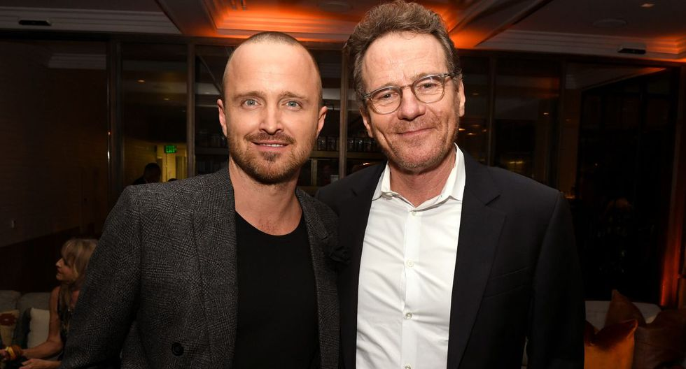"""LOS ANGELES, CALIFORNIA - OCTOBER 07: Aaron Paul (L) and Bryan Cranston pose at the after party for the premiere of Netfflix's """"El Camino: A Breaking Bad Movie"""" at Baltaire on October 07, 2019 in Los Angeles, California.   Kevin Winter/Getty Images/AFP"""