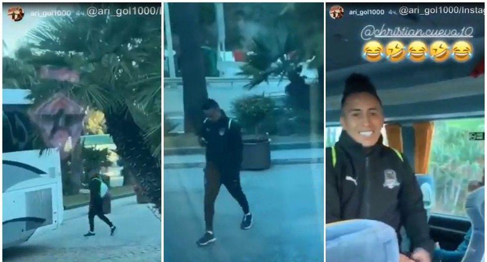La distracción de Christian Cueva provoca las risas de los jugadores de Krasnodar. (Foto: Captura de @ari_gol1000 - YouTube)